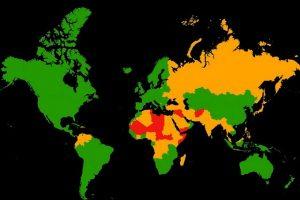 Mapa dos países mais perigosos do mundo